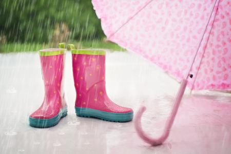 image of an umbrella next to a child in wellington boots