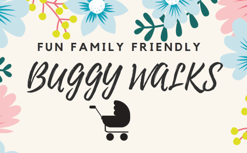 A picture of a buggy with flowers bordering it. The words read 'Fun, Family Friendly Buggy Walks'