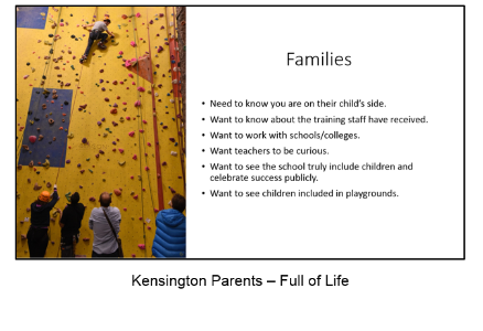 Click here for the presentation by Full of Life on the experience of Kensington Parents
