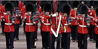 A photo of the Foot Guards marching.