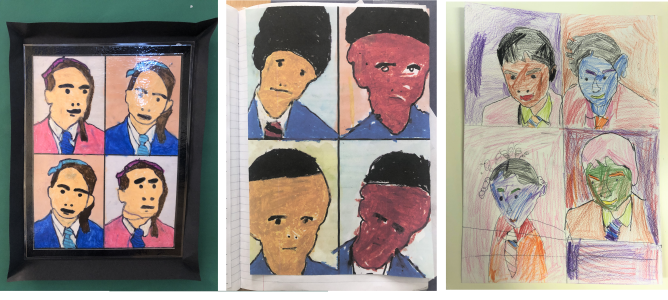 School friends, drawn by Halima and Hassan, aged 8, and Toyobaa aged 7