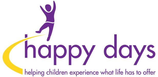 Happy Days Children's Charity logo. It shows a happy child jumping. The tagline reads