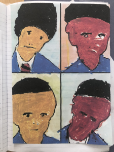 Hassan has painted a fantastic portrait of four school friends in the style of artist Julian Opie