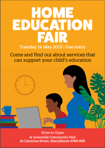 A picture of the flyer for the Home Education Fair. In cartoon, a mum helps her son work on the computer. Click here to open the full version of the flyer