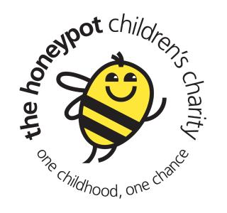Logo for The Honeypot Children's Charity. A happy bumble bee waves in the centre. Around the outside it reads