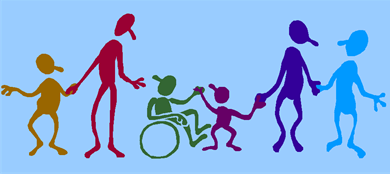 A cartoon picture of children and adults holding hands