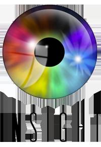 Logo for Insight. It shows a shiny, rainbow-coloured iris.