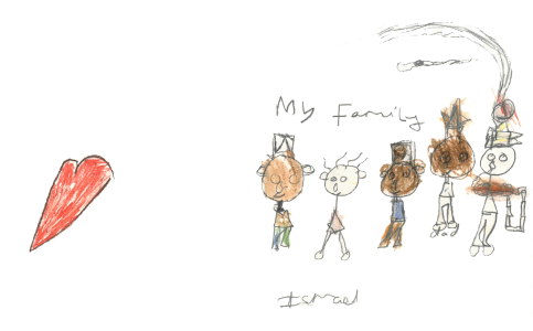 A picture of my family, drawn by Ismael, age 7