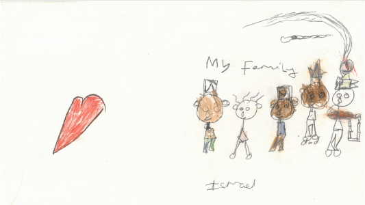 Ismael drew a very sweet picture of his family wearing beautiful hats
