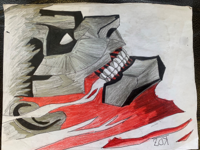 Kidus drew a very impressive picture of a sinister-looking character with red scars and menacing grin