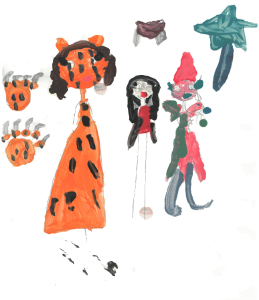 Family in costume, drawing by Kylie, age 7