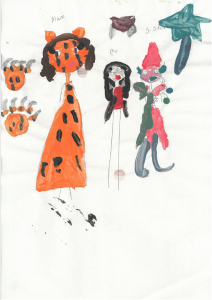 Kylie painted a very creative portrait of her family in colourful fancy dress