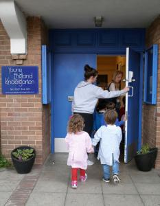 Children entering the nursery