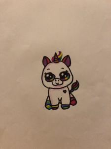 Lena drew a cute unicorn with rainbow coloured feet and tail