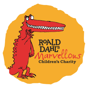 Logo for Roald Dahl's Marvellous Children's Charity. The drawing is of a smiling red crocodile.