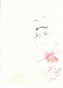 Momo drew a fantastic portrait of himself playing football