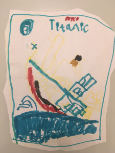 Nico drew a dramatic picture of the Titanic sinking into the sea