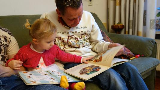 A photo of a dad reading a book with his daughter.