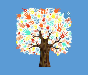 A clipart picture of a tree where the leaves are made up of lots of colourful hands.