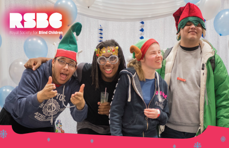 Image showing young people with visual impairment celebrating the end of the year.