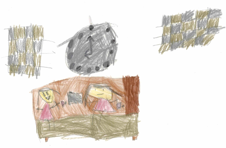 Safa's drawing of two children playing together