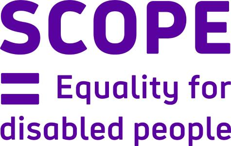 Scope logo. It reads Scope = Equality for Disabled People