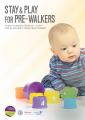 Stay and Play for Pre-Walkers. The picture shows a baby playing with coloured, plastic cups.