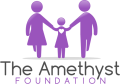 Amethyst Foundation logo. A mum and dad hold hands with their daughter.