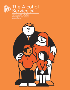 Logo for the Alcohol Service Family and Carer Support service. The picture shows a family of dad, mum brother and sister cuddling close together.