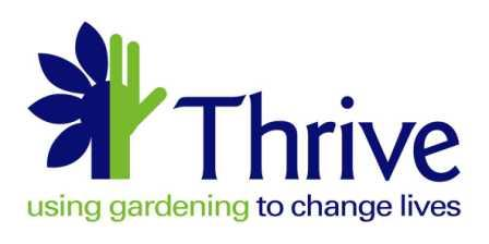 Thrive logo. The icon shows half of a flower joined with half of a green hand. It reads: Thrive, using gardening to change lives.