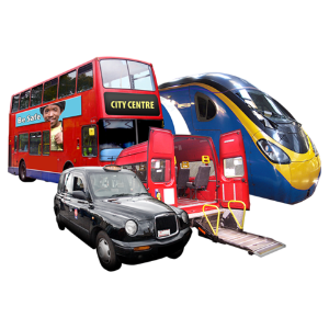 A picture of different forms of transport e.g. bus, train, and taxi.