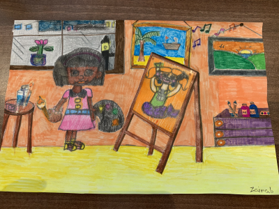 A girl having fun painting in an art studio, drawn by Zainab, age 14