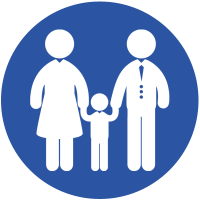 Two adults and one child holding hands