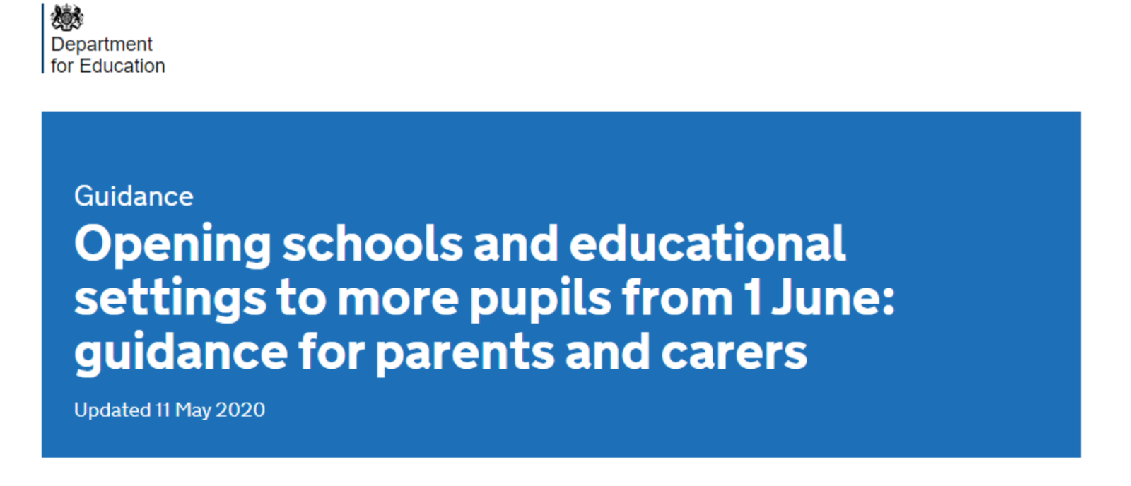Opening schools and educational settings to more pupils from 1 June: guidance for parents and carers
