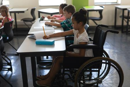 Girl In Wheelchair Learning With Other Children