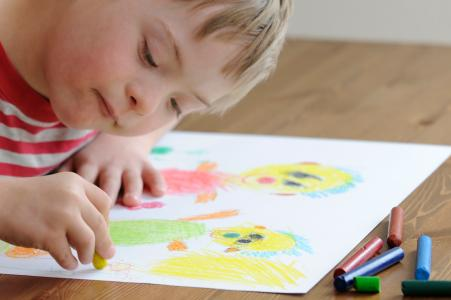Downs Syndrome Child Drawing