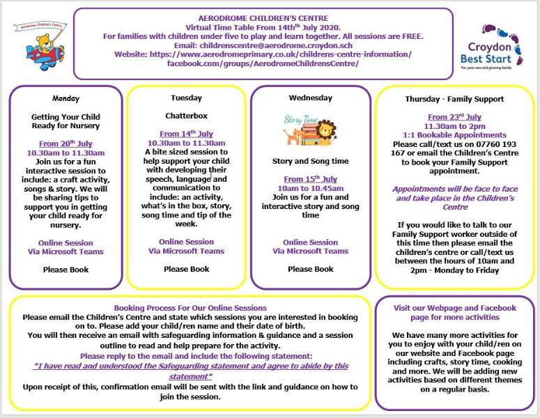 Aerodrome Children's Centre programme. See website for full details.