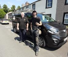 Jim n Sam from Community Works out n about on a  job in Appleby