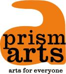 Big orange lower case letter a with the words Prism Arts in black inside the shape. The words arts for everyone is in black, below the big orange letter a.