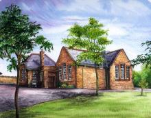 Watercolour of Armathwaite Village School by Arlene Nichol