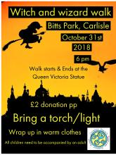 October 31st, bring a torch and join us for a Welly Walk in Bitts Park, Carlisle.