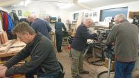 Members working on practical projects in our workshop in Beer