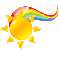 Sun and rainbow logo
