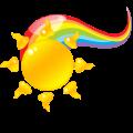 Sun and rainbow logo