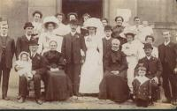 Wedding of Edith Wood and Walter Harvey at the Primitive Methodist Church, Ferryhill, on 10 June 1911.