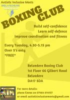 Boxing club - Every Tuesday 4:30 - 5:15 pm