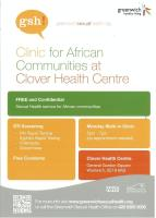 Clinic for African communities at clover health centre poster