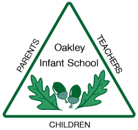 Oakley logo- triangle with acorns and oak leaves in the centre