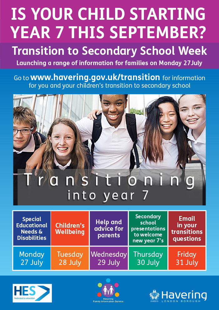 Transition to Secondary School Week information poster