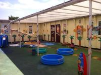 Outdoor area on party day
